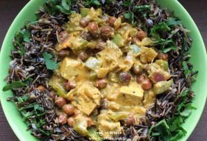 Curry z brązową ciecierzycą i tofu.