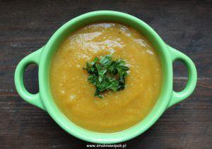 Zupa krem z pieczonej dyni i ziemniaków.